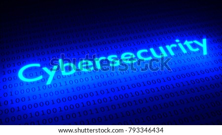 Glowing word cybersecurity illumination black binary streams 3D illustration