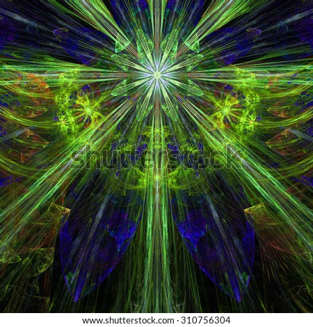 Glowing yellow,green,purple,orange exploding flower/star fractal background with a detailed decorative pattern, all in high resolution. - stock photo
