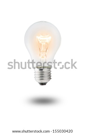 Glowing yellow light bulb,  Realistic photo image - stock photo