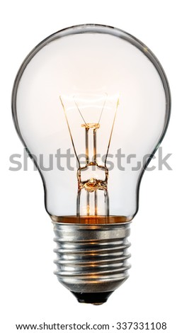 Glowing yellow light bulb, realistic photo image of a turned on tungsten light bulb isolated on a white background and with a clipping path - stock photo