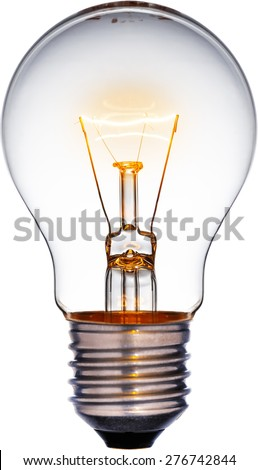 Glowing yellow light bulb, Realistic photo image turn on tungsten light bulb with a white background and a clipping path - stock photo