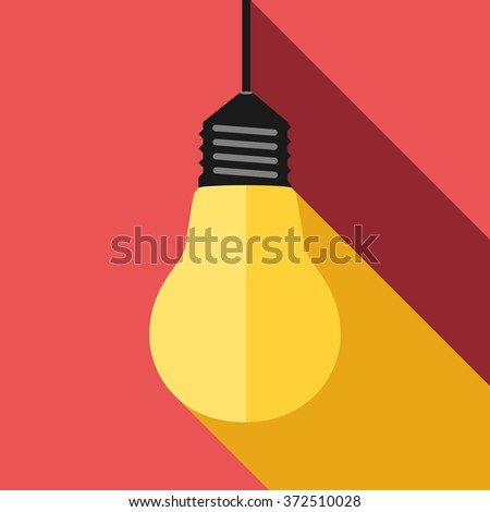 Glowing yellow lightbulb, long light and shadow on red. Inspiration, insight, aha moment, inspired, creativity, invention, idea, innovation concept - stock photo