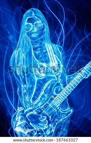 glowing young woman with electric guitar