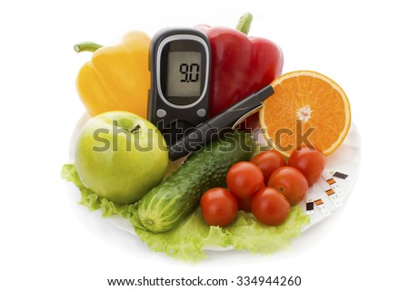 glucometer and healthy organic food on a white background