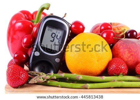 Glucose meter with fresh ripe fruits and vegetables, concept of diabetes, healthy food, nutrition, strengthening immunity