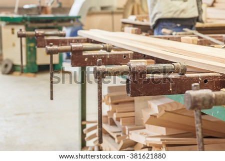 gluing boards workshop manual production - stock photo