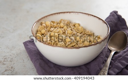 Gluten Free Cereal in Small Ceramic Bowl