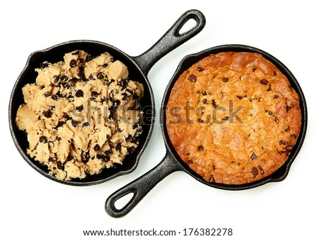 Gluten Free Chocolate Chip Skillet Cookie Before and After Cooked Isolated - stock photo