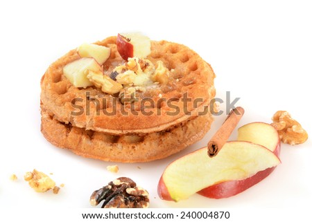 Gluten free cinnamon apples waffles with walnuts - stock photo