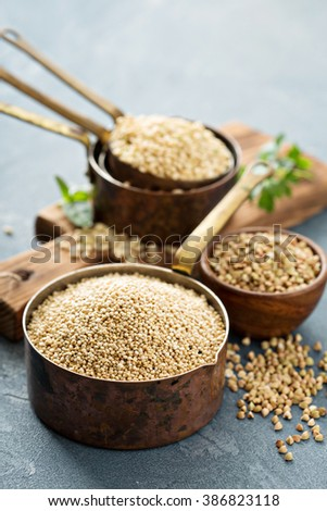 Gluten free cooking with quinoa and other grains - stock photo