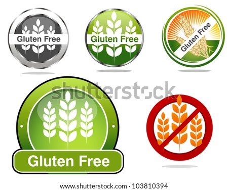 Gluten free food labels collection. Beautiful bright colors. - stock photo