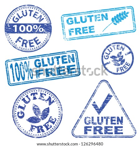 Gluten free food. Rubber stamp illustrations - stock photo