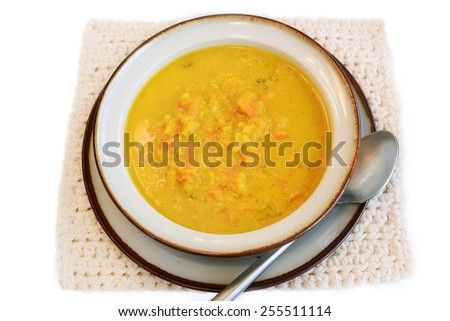 Gluten free organic curry vegetable soup isolated on white background in horizontal format - stock photo