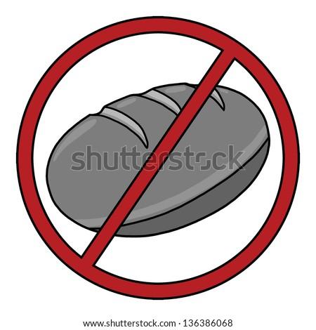 Gluten Free Symbol; No Bread; Wheat Free Icon; Food Allergy Icon - stock photo