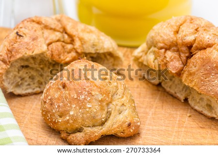 Gluten's buns and oat bran (closeup) - on the background: salt and flour - stock photo