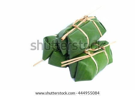 glutinous rice steamed in banana leaf  isolated background