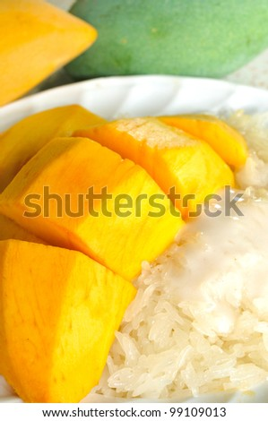 Glutinous rice with mangoes,Thailand
