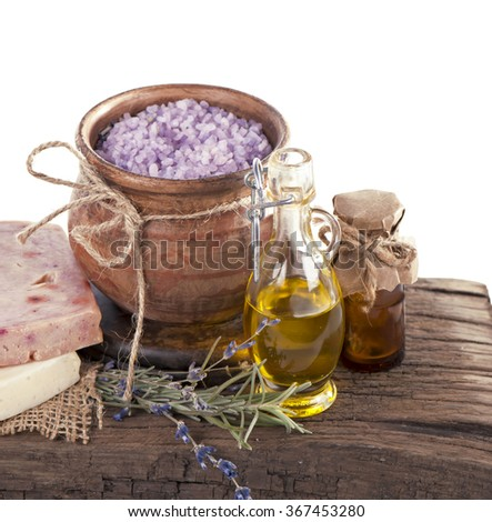 glycerine soap and bowl of lavender bath salt - beauty treatment - stock photo