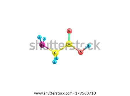 Glycine is an organic compound with the formula NH2CH2COOH. Glycine is the smallest of the 20 amino acids commonly found in proteins. - stock photo