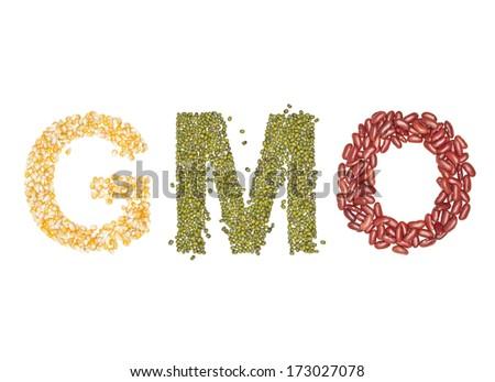 gmo, Alphabet from Organic  beans dry on white  - stock photo
