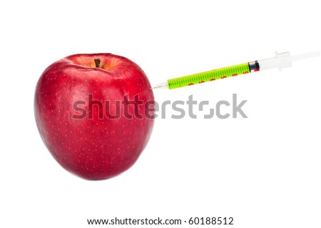 GMO apple with syringe on the white
