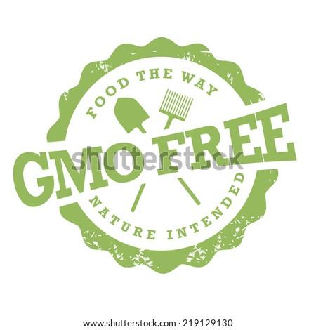GMO free stamp  - stock photo
