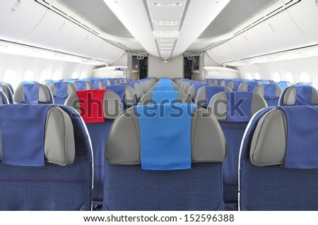 GNIEZNO, POLAND - AUGUST 4: Interior of the New Boeing 787 Dreamliner during a training flight from Bydgoszcz to Wroclaw on August 4, 2013 in Gniezno, Western Poland. - stock photo