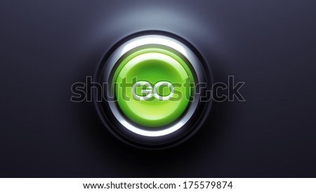 Go Button isolated on dark background - stock photo