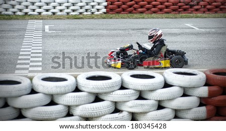 Go-cart lined up - stock photo