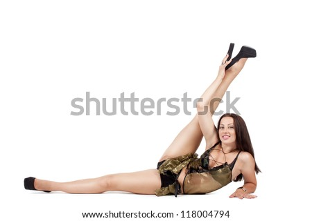 go-go dancer in an extravagant pose isolated on white background