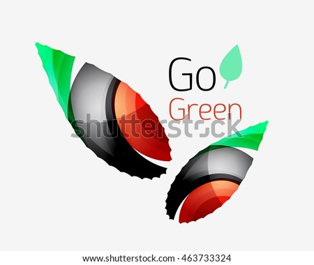 Go green abstract nature logo. illustration