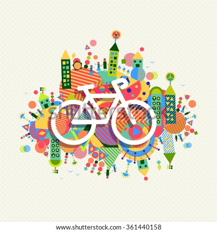 Go green bike concept poster design. Vibrant colors geometric eco environment shapes with bicycle outline icon illustration. - stock photo