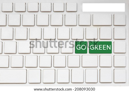 Go green button on computer keyboard, ecology concept - stock photo
