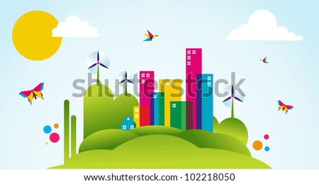 Go green city in spring time. Industry sustainable development with environmental conservation background illustration. Vector file layered for easy manipulation and custom coloring. - stock photo