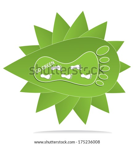Go green concept design with foot marks and leaf, raster version.  - stock photo
