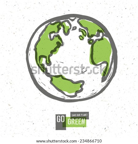 Go Green Concept Poster With Earth. Raster version - stock photo