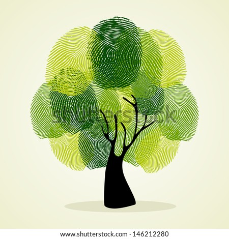 Go Green identity tree finger prints illustration.   - stock photo