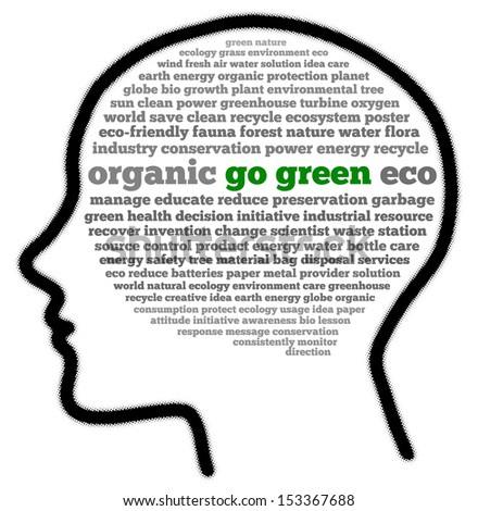 Go green in head shape words cloud - stock photo