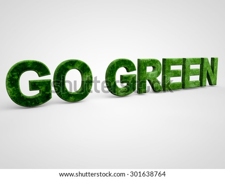 Go Green over white Background
