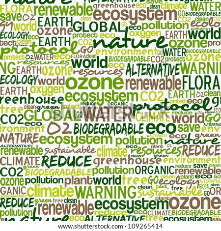 Go green text cloud about environmental conservation pattern background. - stock photo
