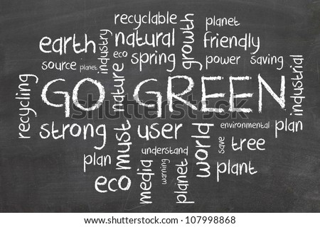 Go Green Words cloud about environmental conservation - stock photo