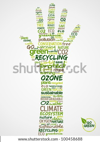Go Green. Words cloud about environmental conservation in hand.