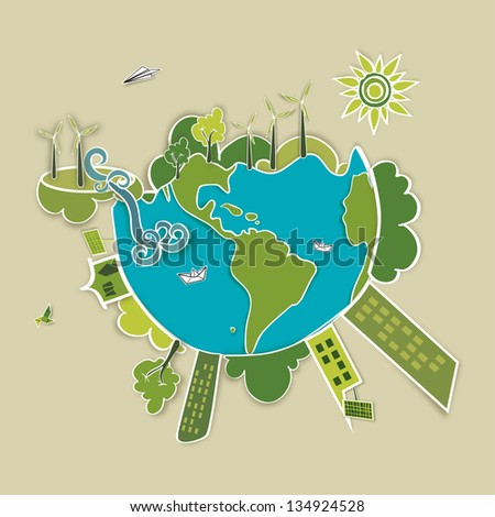 Go green world. Industry sustainable development with environmental conservation background illustration. - stock photo