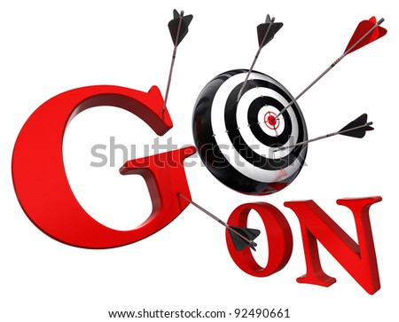 go on red words and conceptual target with arrow isolated on white background