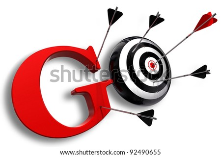 go red word and conceptual target with arrow on white background