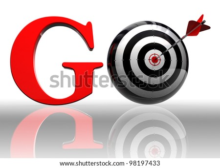 go red word with conceptual target and arrow on white background clipping path included