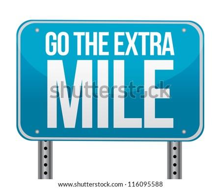 go the extra mile illustration design over white - stock photo