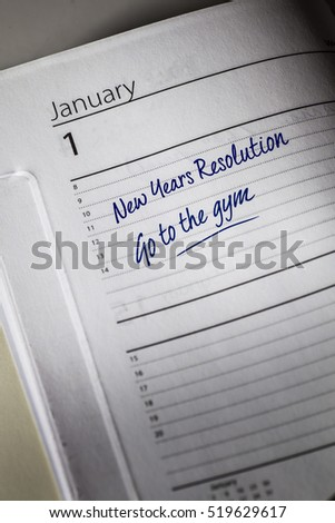 Go to the Gym New Years Resolution in the diary