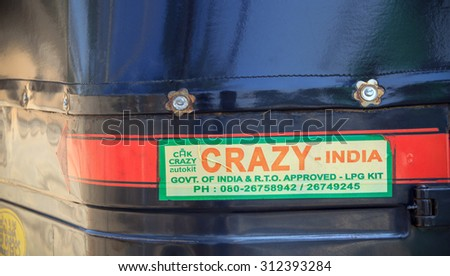 GOA, INDIA - 31 AUG: The sticker on the back of a tuk-tuk in Goa,  India at 31 AUG 2015.