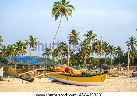 GOA/INDIA - DECEMBER 3, 2015: Indian fishing boat on the shore of Goa beach in India